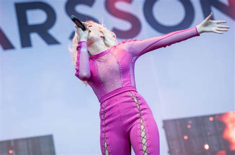 Zara Larsson exposed mid-song in sheer fishnet top | Daily