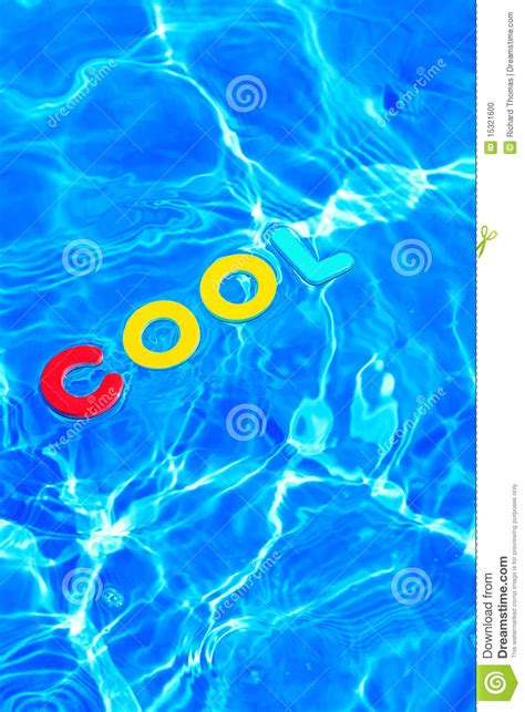 Word COOL Floating In A Swimming Pool Stock Photo - Image