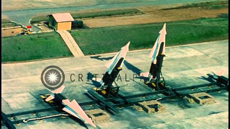 Nike-Hercules missile raised to firing position at the
