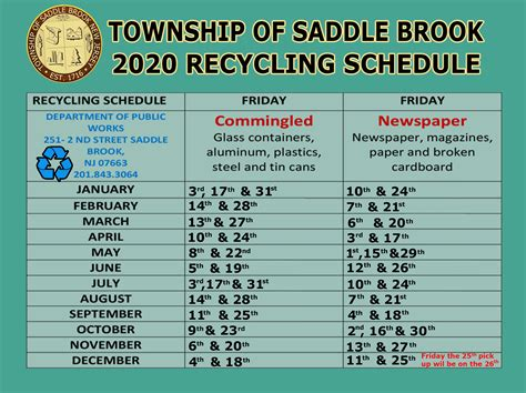 RECYCLING SCHEDULE 2020_R - Saddlebrooknj DPW