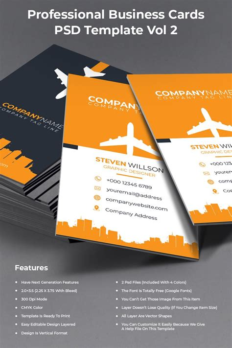 Professional Business Cards PSD Template #73615